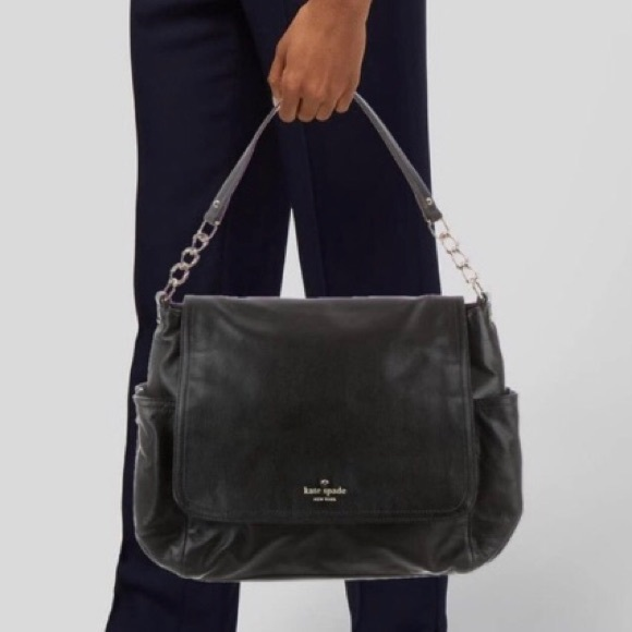 KATE SPADE FLAP FOLD OVER GRAINED LEATHER BAG
